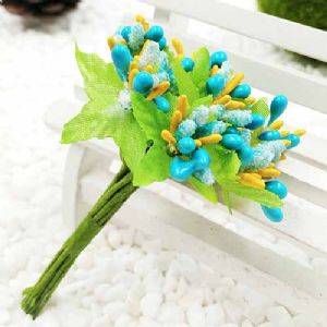 Mini Bouquet Flower Stamen - Small Glass Head, Teal, 10 pieces, Long 9cm, [ST1133]